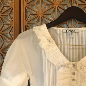 CHLOE ivory silk blouse size 4